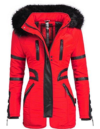 Navahoo Moon - Abrigo de invierno de piel sintética para mujer, color negro Rojo