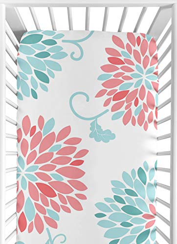 Collection Floral Print - Sweet Jojo Designs Fitted Crib Sheet for Modern Emma Baby/Toddler Bedding Set Collection - Floral Print