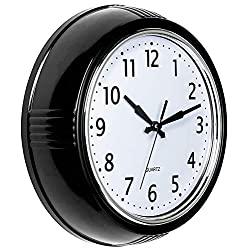 Bernhard Products Retro Wall Clock 9.5 Inch Black Kitchen 50's Vintage Design Round Silent Non Ticking Battery Operated Quality Quartz Clock for Home/Office/Classroom (Black)