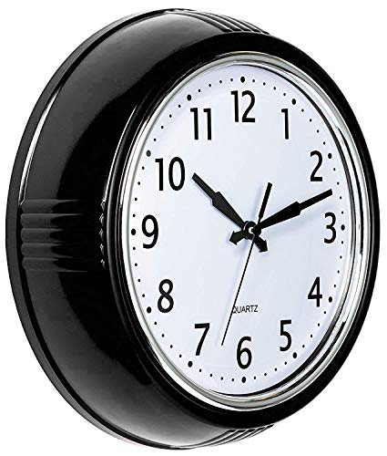 Bernhard Products Retro Wall Clock 9.5 Inch Black Kitchen 50's Vintage Design Round Silent Non Ticking Battery Operated Quality Quartz Clock for Home/Office/Classroom (Black) (Vintage White Wall Clock)