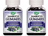 Nature's Way Sambucus Elderberry Gummies, Herbal Supplements with Vitamin C and Zinc, Gluten Free, Vegetarian, 60 Gummies (60 Count (2 Pack))