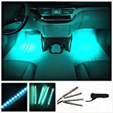 Automotive : Car Interior Lights, EJ's SUPER CAR 4pcs 36 LED DC 12V Waterproof Atmosphere Neon Lights Strip for Car-Car Auto Floor Lights,Glow Neon Light Strips for All Vehicles (Ice Bliue)