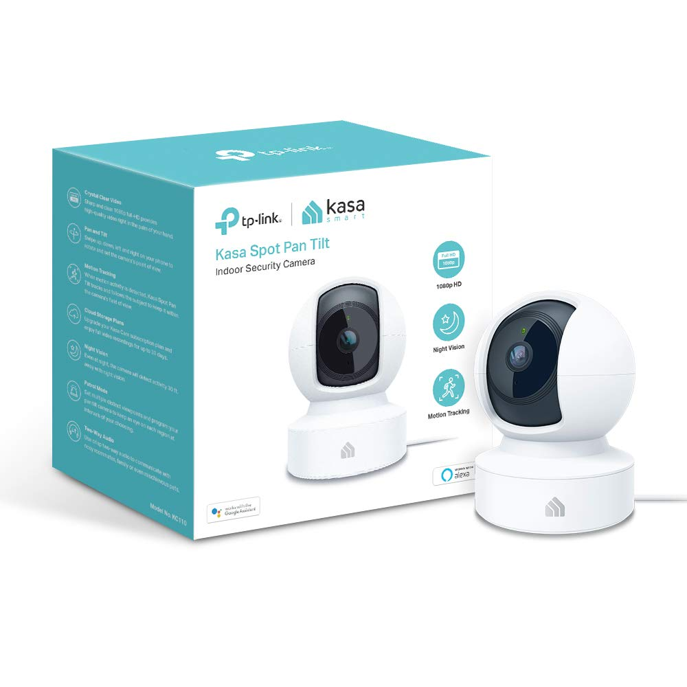 Kasa Indoor Camera, 1080P HD Smart Wifi Security Pan and tilt Camera, Night Vision, Motion Detection, Remote Monitor, Works with Google Assistant and ALEXA (KC110) by TP-LINK