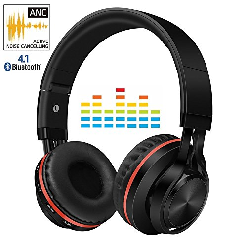 Active Noise Cancelling Bluetooth Headphones with Mic,Alteng Hi-Fi Wireless and wired Foldable Over Ear Stereo Sound Headset,Comfortable Protein Earpads For Airplane Travel, Office, Black.