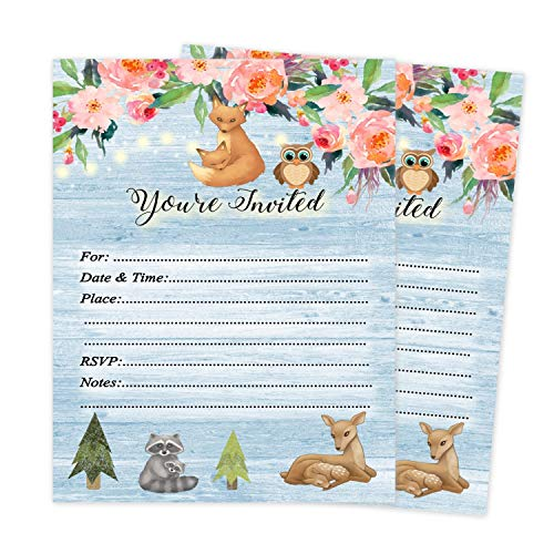 Invitation Fall Party Wording (Woodland Shower Invitations Boy Girl Gender Neutral Twin Invites Fox Raccoon Owl Tree Forest Friend Animal Blue Qty 20 with envelopes)