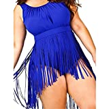 Meyerlbama Women Bikini Plus Size Tankini Set Swimwear Push-Up Bralette Tassel Padded Bra Draped Swimsuit (XL, Blue)