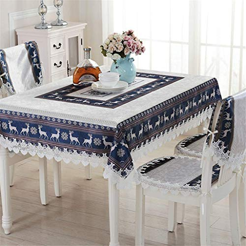 Embroidered European Style Tablecloth Scandinavian Christmas Ribbons Engineered Printed Fabric Decor Coffee Table Cloth Cotton Table Cover Mat -