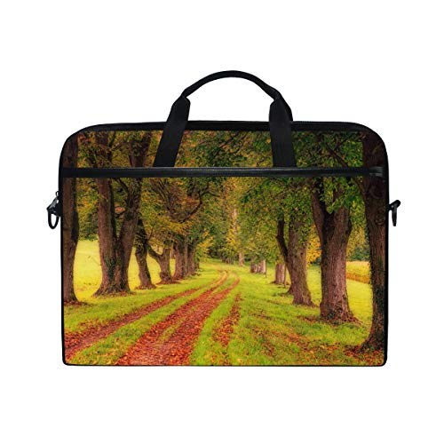(Laptop Sleeve Compatible 15-15.4 Inch Laptop Case Waterproof and Shockproof Protective Carrying Bag Cover, Ultrabook Notebook Carrying Case Handbag with Pocket Winding Path Through Fall Forest With Go)