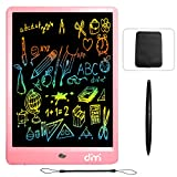 Dimi 10 inch LCD Writing Tablet,Colorful Screen Electronic Writing Board Doodle Pads Drawing Board Gifts for Kids + Erase Button Lock Included(Pink+Case+Stylus)