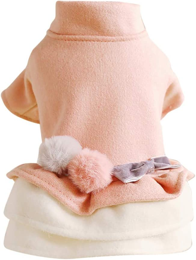 Coversolate Hundekleid f/ür Kleine Hunde Warme Prinzessin Kleid mit Bommel Knopfe Hundepullover Hundekleidung