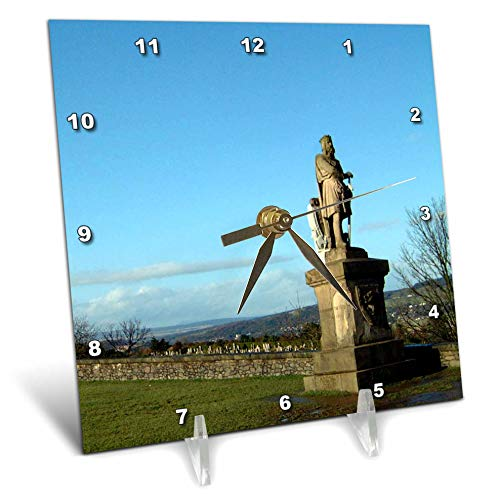 3dRose Jos Fauxtographee- Scotland Statue - A Statue at The Stirling Castle in Scotland Off to Right on Green - 6x6 Desk Clock (dc_292399_1) ()