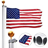 Gientan 20FT Sectional Flag Pole Kit with 3x5 US Flag, Extra Thick Aluminum Heavy Duty American Inground Flagpole Set with Stainless Steel Clips for Commercial or Residential, Silver