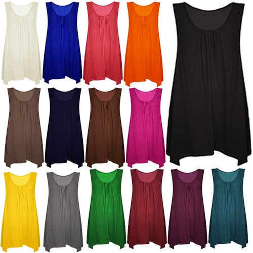 Pure Fashion - Top sin mangas para mujer, multicolor Mocha - Ruched Scoop Neck Top Stretchy T Shirt