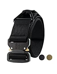 Fairwin Tactical Rigger's Belt, Military Style Webbing Riggers Nylon Web Belt with Heavy-Duty Quick-Release Metal Buckle and Triangular D-Ring. Black