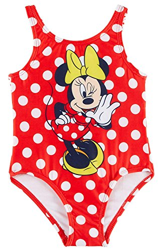Minnie Mouse Disney Toddler Girls Dots Swimsuit UPF 50 (Piece One Swimsuit Disney)