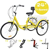 VANELL 24 Inch Tricycle 7 Speed Trike Cruise Bike - Adult 3 Wheeled Bicycle - with Large Size Basket and Tools - Tricycle for Adult Women Men for Shopping Exercise Recreation (Sunny Yellow)