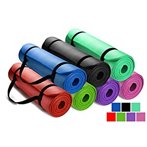HemingWeigh 1/2-Inch Extra Thick High Density Exercise Yoga Mat with Carrying Strap