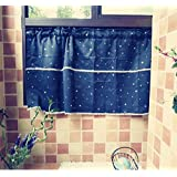 Curtain Scarf Triangle Lace Curtains Short Curtain Sheer Drapes Panels Valances Rod Pocket Voile Cafe Curtain for Kitchen Window , 1 Pair, Beige / Off White