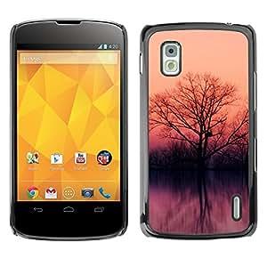 TopCaseStore / la caja del caucho duro de la cubierta de protección de la piel - Lake trees - LG Google Nexus 4 E960