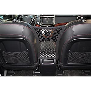 """INNX Dog Barrier with Storage Net for Back Seat, Stretchable Front Seat Pet Barrier for Sedan,Suv, Mini-Van,pick up truck (11""""X12.6"""",Sedan/Compact SUV)"""