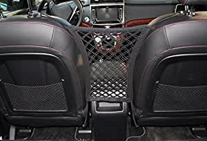 "INNX Stretchable Back Seat Dog Barrier with Storage Net, Front Seat Pet Barrier for Sedan,Suv, Mini-Van,pick up truck (11"" x 12.6"" Black)"