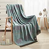 JML Throw Blanket Soft Smooth Jacquard Organic Bamboo Cotton Throw Blanket for Couch Bed Blanket Travel Lap Blankets with Tassels Suit for Home Sofa Chair Camping All Seasons,50' X 60'-Elephant Green