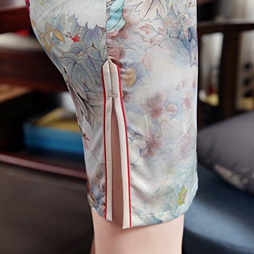 ACVIP Damen Kurze Arme Blumen und Vogel Muster Schlitz Chinesische Etuikleid