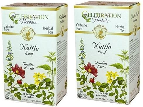 Celebration Herbals Organic Nettle Leaf Tea Caffeine Free, Feuilles Dortie -- 48 Herbal Tea Bags (2 packs of 24) ()