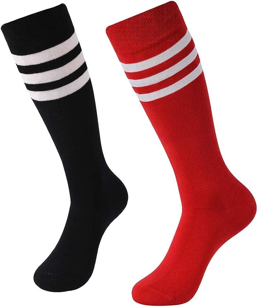 Suttos メンズ エリートコットン ミッドカーフ丈 ドレスソックス 2足または8足 2 Pairs-黒+白い Stripe/赤+白い Stripe
