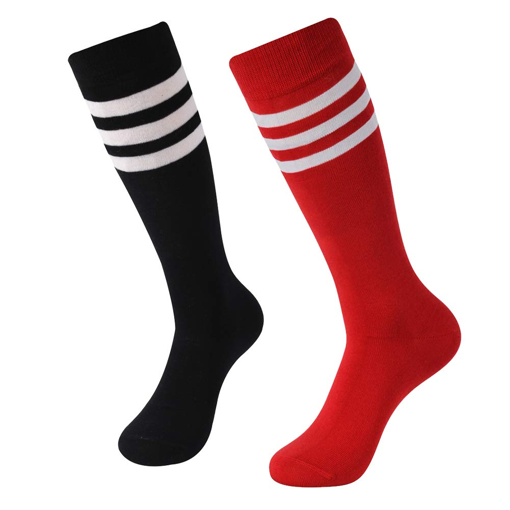 SUTTOS Unisex Knee High Triple Stripe Athletic Soccer Tube Sock 2 Pairs by SUTTOS