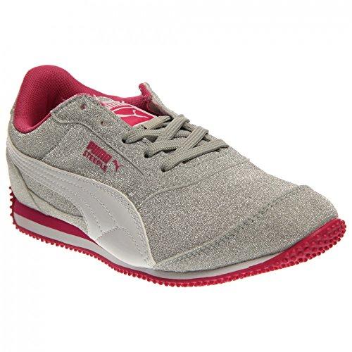 PUMA Steeple Glitz AOG JR Sneaker , PUMA Silver/White/Fuchsia Purple, 4.5 M US Big Kid - Signature Silver Sneakers Shoes