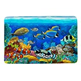 HIYOO Ocean Seabed Coral Theme Design Non Slip Bathmat, Doormat, Bathroom Bath Floor Kitchen Area Door Entrance Rugs Mat, Super Soft Flannel Fabric with Inner Thick Sponge 16' W x 24' L-Colorful Fish