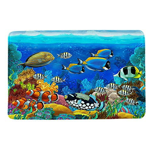 HIYOO Ocean Seabed Coral Theme Design Non Slip Bathmat, Doormat, Bathroom Bath Floor Kitchen Area Door Entrance Rugs Mat, Super Soft Flannel Fabric with Inner Thick Sponge 16