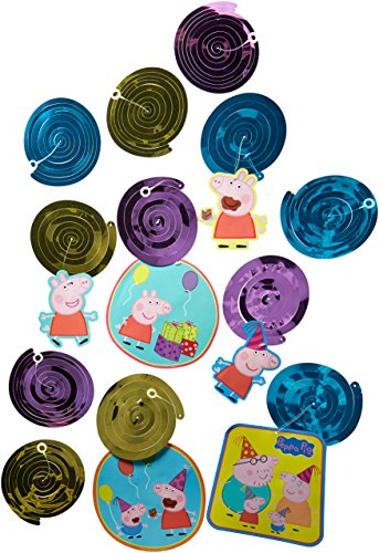 American Greetings Peppa Pig Hanging Swirl Decorations, 12-Count -