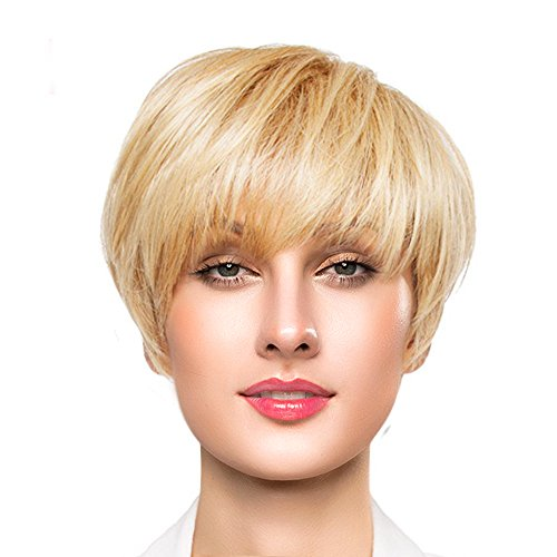 New BLONDE UNICORN Short Fashion Fluffy Human Hair Wigs with Bangs for Women Mixed Real Human Hair(Blonde) for cheap