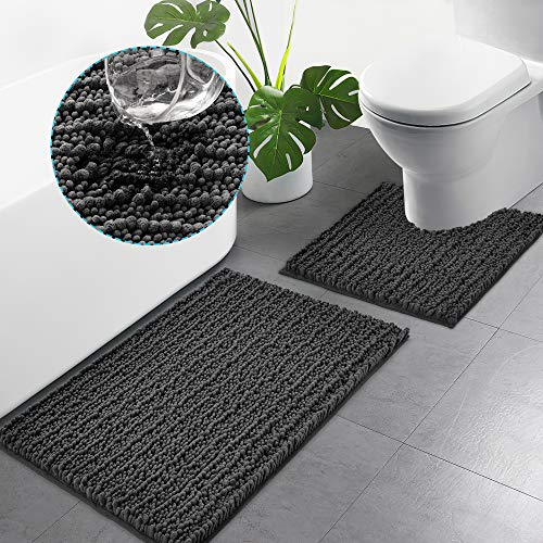 Yaping Bathroom Rugs Chenille 2 Piece Bath Mat Set 20 x 24 U Shape Contour Rug & 20 x 32 Bath Rug Sets Soft Plush Shaggy…
