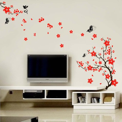 Walplus Wall Stickers Stylish Cherry Plum Blossom Flowers and Butterflies Removable Self-Adhesive Mural Art Decals Vinyl Home Decoration DIY Living Bedroom Dcor Wallpaper Kids