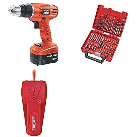 Craftsman | Best Craftsman - Black & Decker Bundle for Construction | 9.6 Volt Cordless Drill | 50 Pc Drill & Driver Bit Set | Guaranteed | Stud Finder | Top Rated - #1 Seller | Home - Craftsman Stud Finder