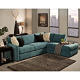 Furniture of America Faith Deluxe Contemporary Microfiber Fabric Upholstered 2-piece Sectional Blue