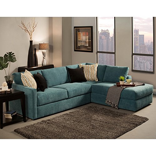 Furniture of America Faith Deluxe Contemporary Microfiber Fabric Upholstered 2-piece Sectional Blue by Furniture of America