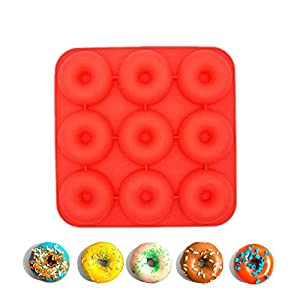Aolvo Donut Baking Pan, Food Grade Non-Stick Silicone Donut Mould, Makes 9 Full Size Donuts, BPA Free, Oven, Dishwasher and Freezer Safe