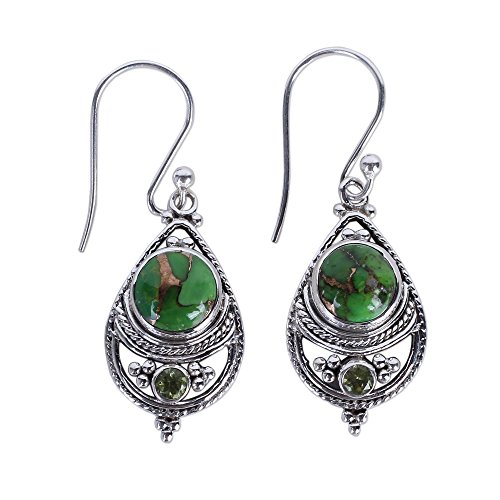 - NOVICA Peridot Green Reconstituted Turquoise .925 Sterling Silver Dangle Earrings 'Green Elegance'