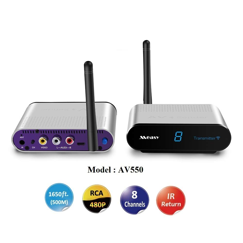 Measy AV550 5.8GHz 8CH Wireless AV Transmitter+Receiver Audio Video Sender 500m