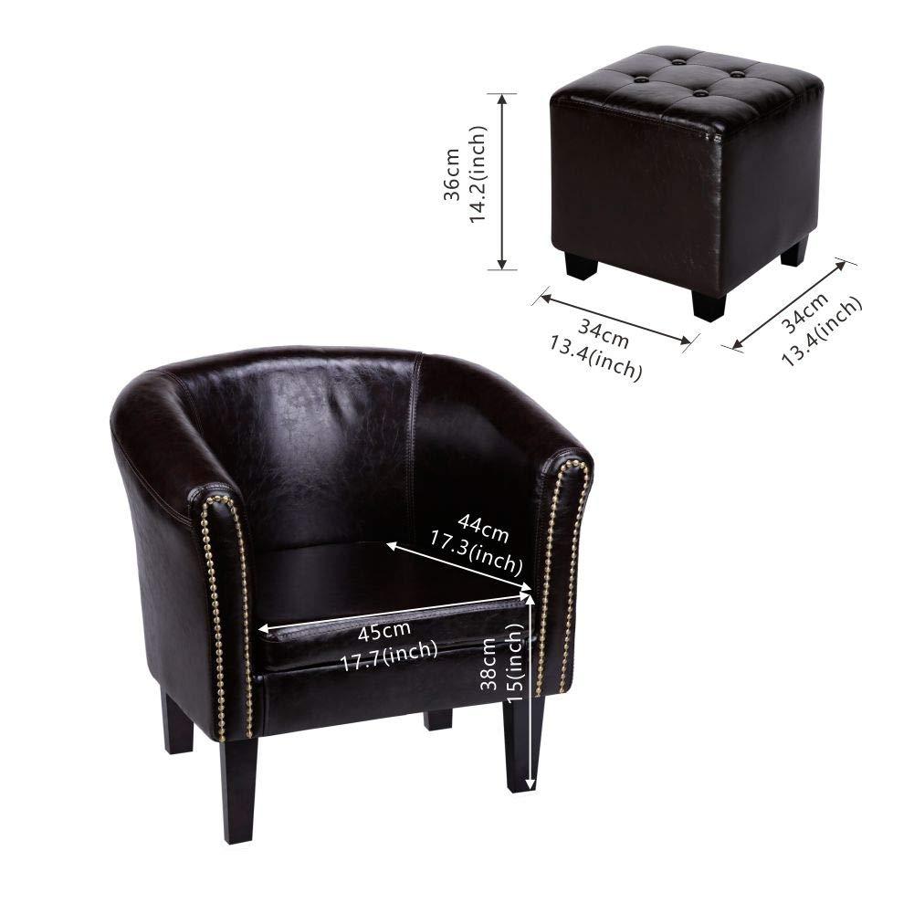 CCLIFE Sillón Chesterfield -Sofá Chesterfield Diseño clásico sillon chester para sala, comedor, oficina, butaca sillon salon, Color:MARRÓN + Banquillo