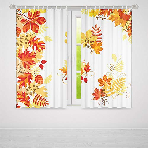 (TecBillion Decor Collection,Fall,for Bedroom Living Dining Room Kids Youth Room,Autumn Themed Pattern Chestnut Oak Maple Leaves and Berries Corner Design Elements,66Wx65L Inches)