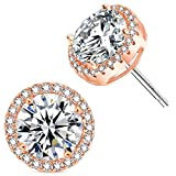 Rose Gold Plated Sparkling Round Cubic Zirconia CZ 10mm Halo Stud Earrings With Silver Post.