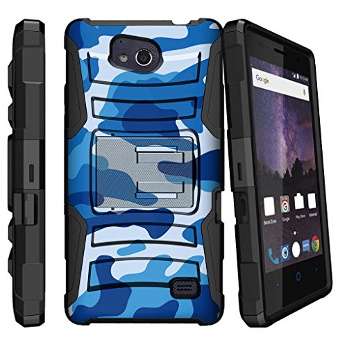 MINITURTLE Case Compatible w/ DualLayer Bumper Case for [ZTE Majesty Pro, ZTE Majesty Pro Plus 2017, Z899VL, Z798BL, Z799VL] [Clip Armor] Rugged and Holster Blue Camouflage by MINITURTLE