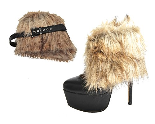Fur Wedges (Detachable Shoe Straps - To Hold Loose Heels, Wedges, Flats (Boot Fur))