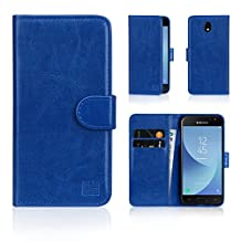 32nd Book Style Faux Leather Wallet Flip Case for Samsung Galaxy J3 (2017) - Deep Blue