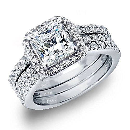 MABELLA 3 Piece Ring Band Set 3.28Ct Princess Sterling Silver CZ Wedding Engagement Gifts for Women Rings (Ring Set 3 Piece)